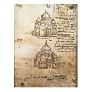 Études de Leonardo Vinci- des bâtiments centraux Carte Postale