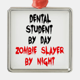 Étudiant dentaire de tueur de zombi ornement carré argenté