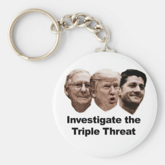 Étudiez la menace triple porte-clé rond