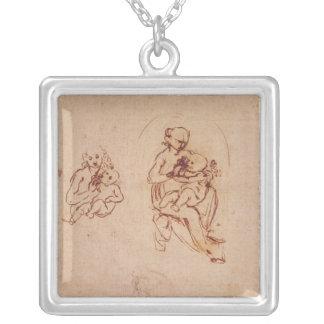 Étudiez pour la Vierge et l'enfant, c.1478-1480 Pendentif Carré