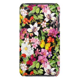 Étui Barely There iPod Beau, floral, peint à la main, fleurs, noir, backg