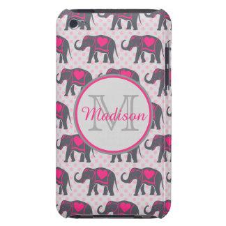 Étui Barely There iPod Éléphants de roses indien gris sur le pois rose,