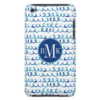 Étui Barely There iPod Profil onduleux d'aquarelle bleue peinte à la main