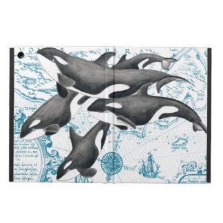 Étui iPad Air Bleu antique de famille de baleines d'orque