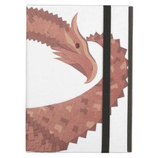 Étui iPad Air Dragon de coeur de Brown sur le blanc