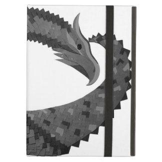 Étui iPad Air Dragon noir de coeur sur le blanc