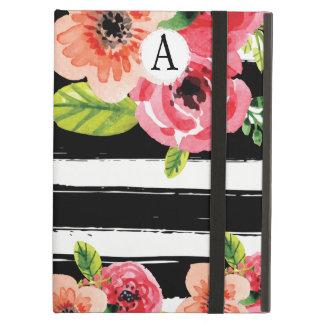 Étui iPad Air Fleurs peintes à la mode avec les rayures blanches
