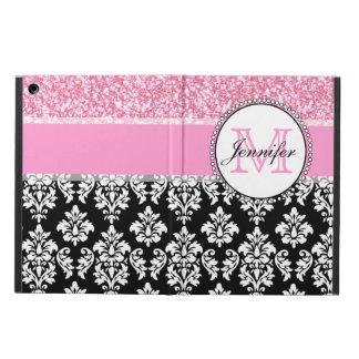 Étui iPad Air Girly, rose, scintillent la damassé noire