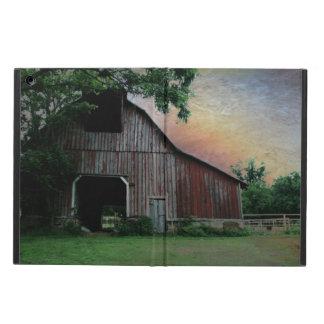 Étui iPad Air grange rouge de paysage de ferme de coucher du