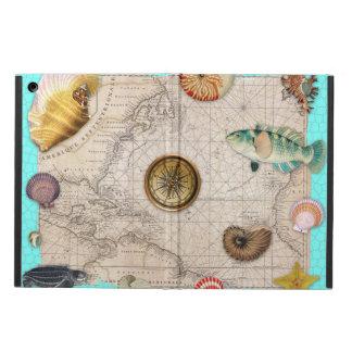 Étui iPad Air La marine prise la carte vintage beige Teal