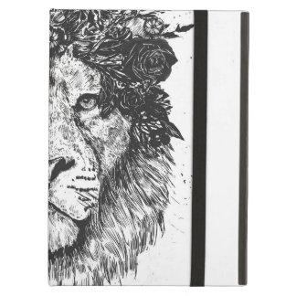 Étui iPad Air Lion floral (noir et blanc)