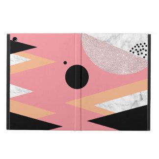 Étui iPad Air Marbre rose géométrique élégant de blanc de