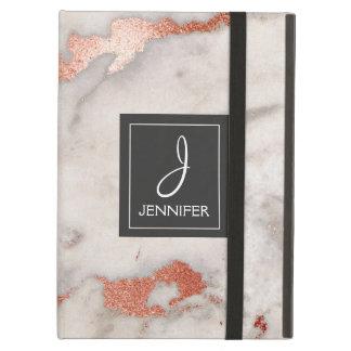 Étui iPad Air Monogramme élégant de marbre d'or de rose de rose