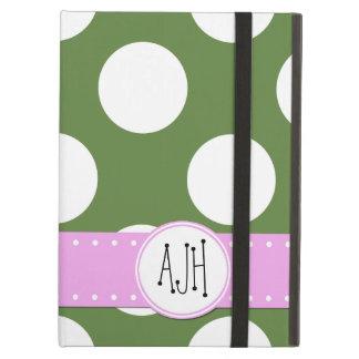 Étui iPad Air Monogramme - pois, motif pointillé - vert