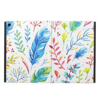 Étui iPad Air Motif floral Bleu-Orange à la mode de plume de
