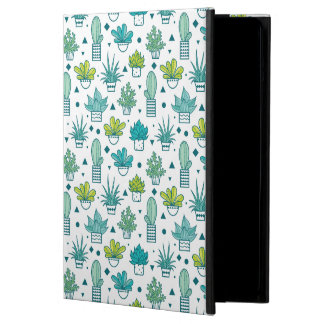 Étui iPad Air Motif succulent d'aquarelle verte et bleue