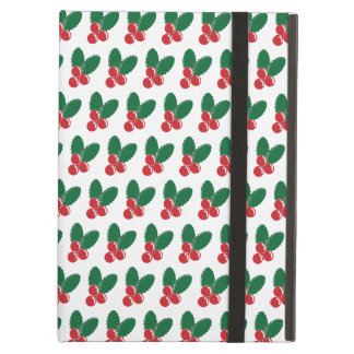 Étui iPad Air Motif vert de feuille de baies rouges de Noël