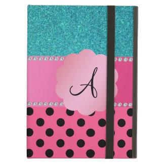 Étui iPad Air Parties scintillantes noires roses de turquoise de