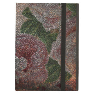 Étui iPad Air Roses roses victoriens vintages affligés du cuir  