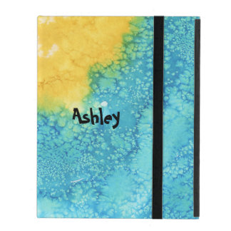 Étui iPad Aquarelle bleue/jaune