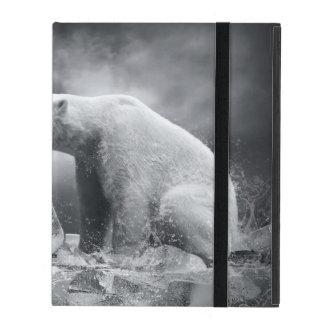 Étui iPad Chasseur blanc d'ours blanc sur la glace dans