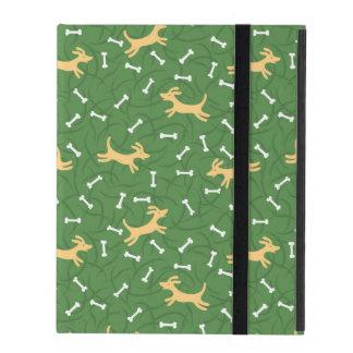 Étui iPad chiens chanceux avec l'arrière - plan d'os