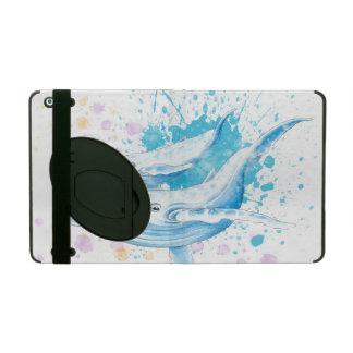 Étui iPad Éclaboussure de couleur de baleines bleues