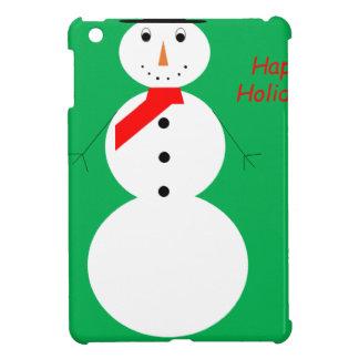 Étui iPad Mini Bonhomme de neige avec l'arrière - plan vert