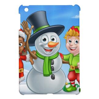 Étui iPad Mini Bonhomme de neige de Noël de bande dessinée et