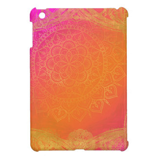 Étui iPad Mini Charme indien rose fuchsia de mandala d'orange et
