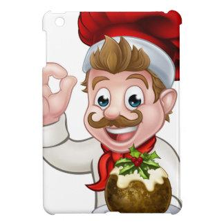 Étui iPad Mini Chef dans le casquette de Noël tenant le pudding