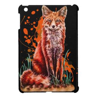 Étui iPad Mini Dessin d'art animal rouge de Fox et de peinture