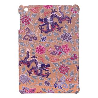 Étui iPad Mini Dragons pourpres roses et motif de fleurs pourpre