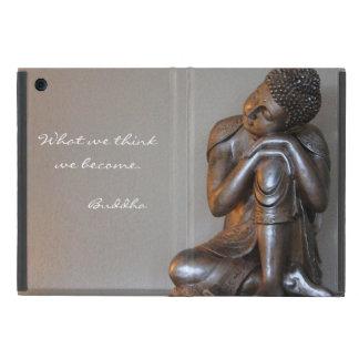 Étui iPad Mini Fermez-vous de Bouddha argenté paisible