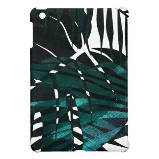 Étui iPad Mini Feuille tropical vert-foncé métallique