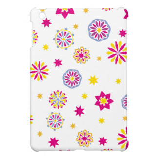 Étui iPad Mini Fleurs roses, jaunes et bleues abstraites colorées