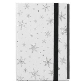 Étui iPad Mini Flocon de neige de scintillement - gris et Blanc