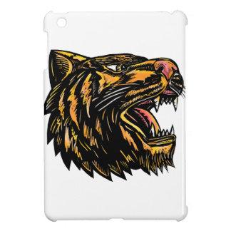 Étui iPad Mini Gravure sur bois en tigre de grognement