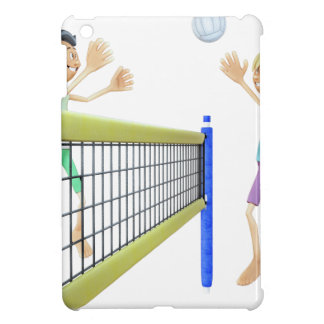 Étui iPad Mini Joueurs de volleyball de plage de bande dessinée