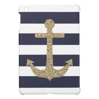 Étui iPad Mini La marine et le blanc d'ancre d'or barre la mini
