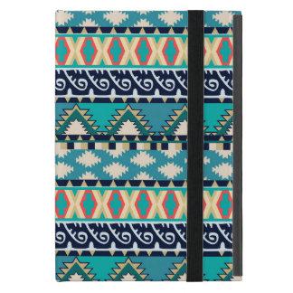 Étui iPad Mini La turquoise ondule le motif tribal avec le bleu
