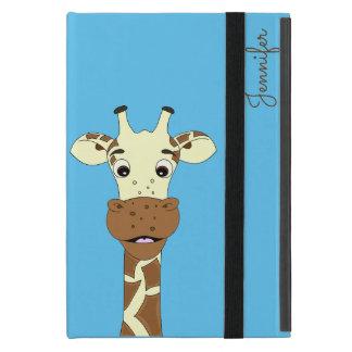 Étui iPad Mini Le nom bleu de bande dessinée drôle de girafe