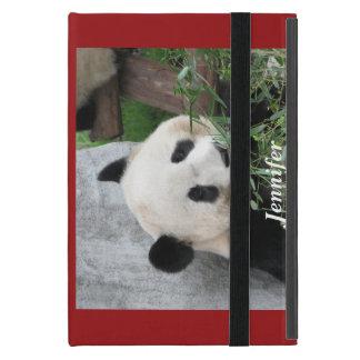 Étui iPad Mini mini cas folio d'iPad, panda, rouge
