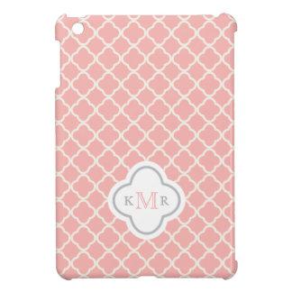 Étui iPad Mini Monogramme élégant de motif de rose saumoné de