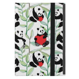Étui iPad Mini motif avec de beaux pandas avec des coeurs