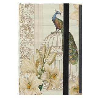 Étui iPad Mini paon vintage de cage à oiseaux de lis français de
