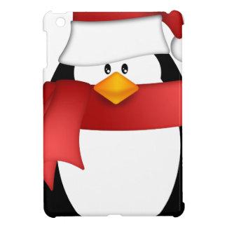 Étui iPad Mini Pingouin avec le casquette et l'écharpe rouge
