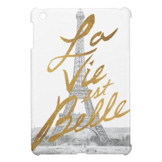 Étui iPad Mini Tour Eiffel avec l'écriture d'or