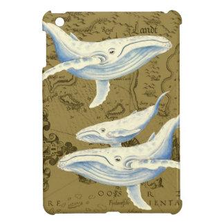 Étui iPad Mini Vert olive de famille de baleines bleues