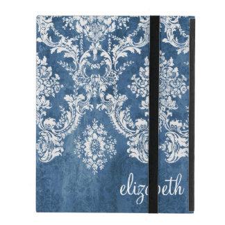 Étui iPad Motif vintage de damassé - bleu sale de saphir